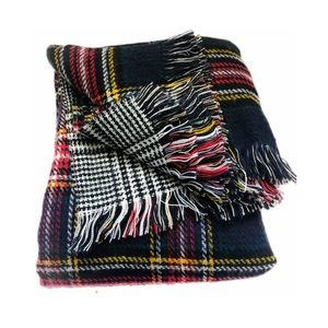 Accessories - Reversible Plaid Soft Blanket Scarf  | Large